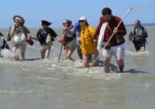 les miquelots traversant la baie au moyen age